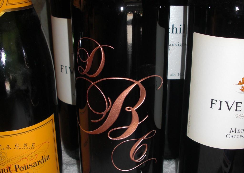 Wine Bottle Wedding Initials